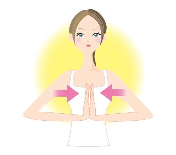 胸の前で手を合わせるだけで胸筋を鍛えられる「お祈り体操」