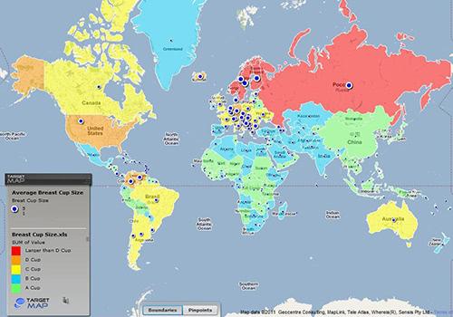 世界各国の平均バストカップサイズの地図