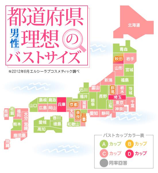 都道府県別 男性理想のバストサイズ